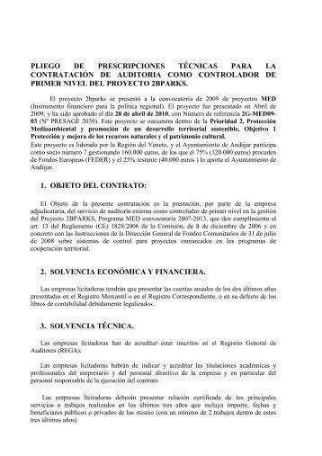 pliego de prescripciones tecnicas - Ayuntamiento de Andújar