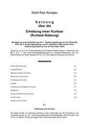 S atzung über die Erhebung einer Kurtaxe - Stadt Bad Saulgau