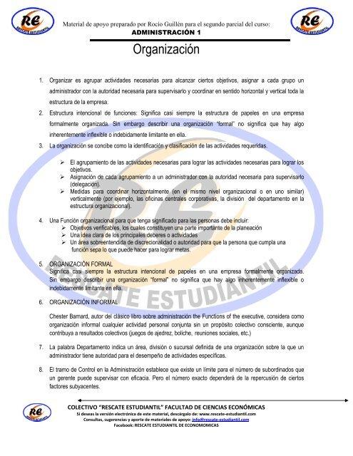 Administracion 1 Tema Organizacion Rescate Estudiantil
