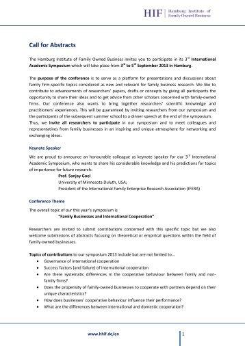 Call for Abstracts - Hamburger Institut für Familienunternehmen (HIF)