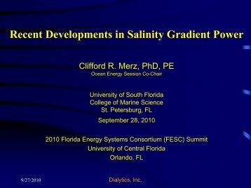 Recent Developments in Salinity Gradient Power - Florida Energy ...