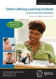 NEW! - Osher Lifelong Learning Institutes at the University of Delaware