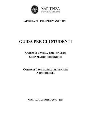 2006-2007 - Facoltà di Scienze Umanistiche - Sapienza