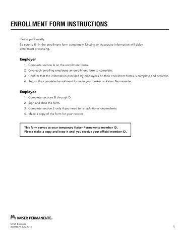 Enrollment Form - Kaiser Permanente Group Health ...