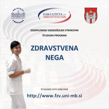ZDRAVSTVENA NEGA - Fakulteta za zdravstvene vede - Univerza v ...