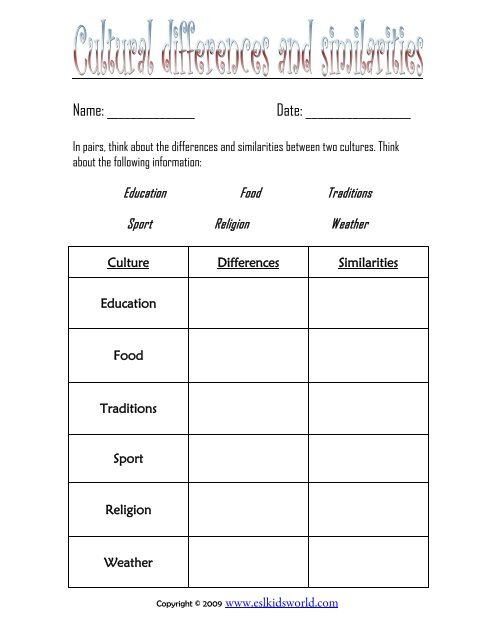 Cultural Differences And Similarities Worksheet ESL Kids World