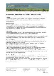 reseavtal i PDF format - Dahl Safaris