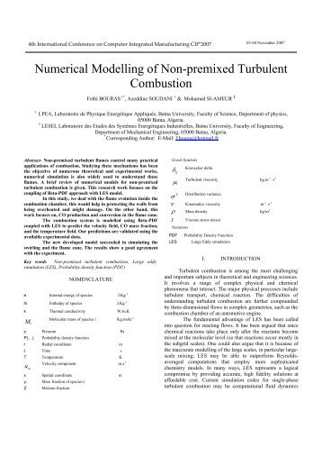 Numerical Modelling of Non-premixed Turbulent Combustion