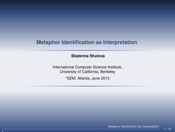 Metaphor Identification as Interpretation - clic-cimec