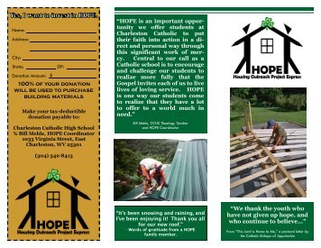 HOPE 2012 Information Brochure - Charleston Catholic High School