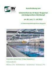 Ausschreibung zum Schwimmfest des SV Bayer Wuppertal mit ...