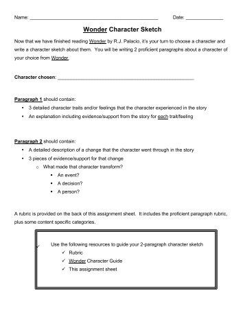 Character sketch essay assignment