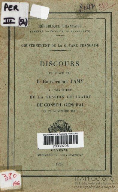 Discours prononcé par le Gouverneur Lamy à l'ouverture ... - Manioc