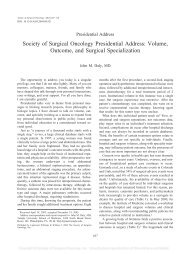 Volume, Outcome, and Surgical Specialization - Society of Surgical ...