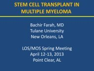 stem cell transplant in multiple myeloma - Louisiana Oncology Society