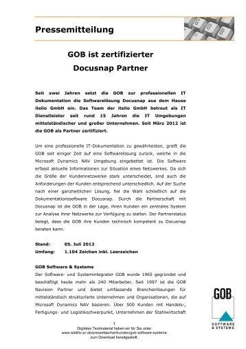 Pressemitteilung - GOB Software & Systeme