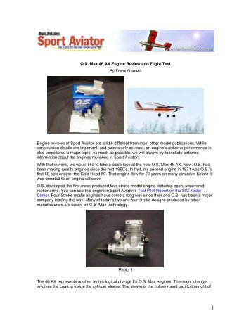 O.S. Max 46 AX Engine Review and Flight Test By Frank Granelli ...
