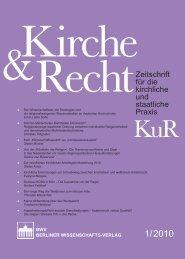 Zeitschrift für die kirchliche und staatliche Praxis - KuR - Zeitschrift ...