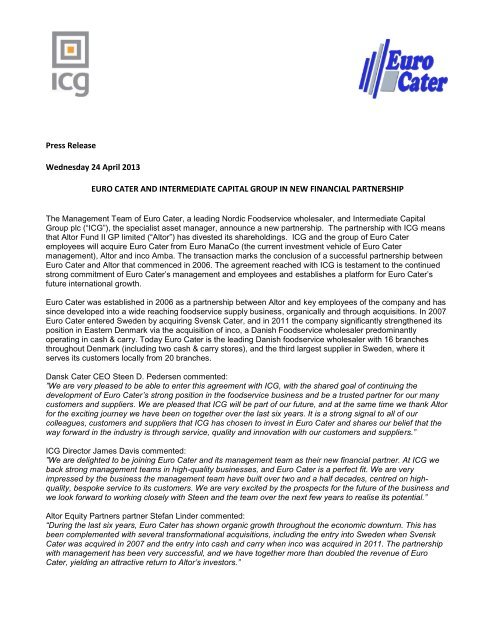 Read Euro Cater press release - Intermediate Capital Group PLC