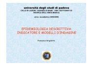 EPIDEMIOLOGIA DESCRITTIVA: INDICATORI E MODELLI D ...