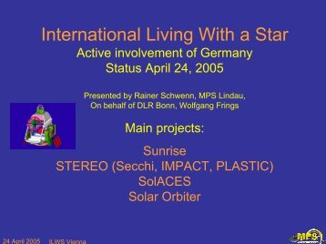 German/DLR Update - International Living With a Star (ILWS)