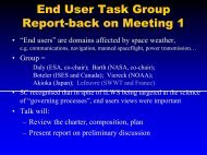 End User Task Group Report-back on Meeting 1