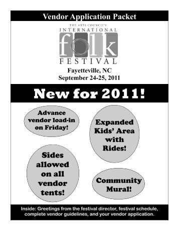 New for 2011! - The Arts Council