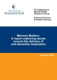 The delivery of anti dementia medication - University of Huddersfield