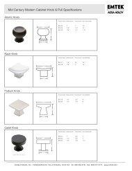 Mid Century Modern Cabinet Knob & Pull Specifications - Emtek