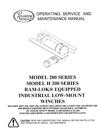 Ramsey Winch Company Owners Manual Model Quadratec