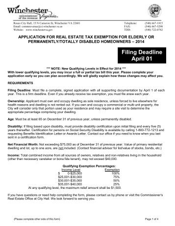 Tax Relief Application for the Elderly or Disabled - City of Winchester ...
