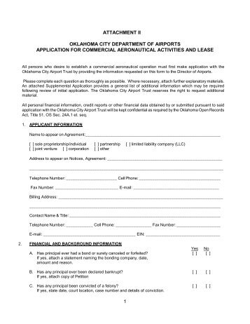 Lease Application Aviation - Wiley Post Airport