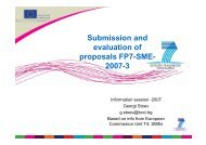 Submission and evaluation of proposals FP7-SME- 2007-3