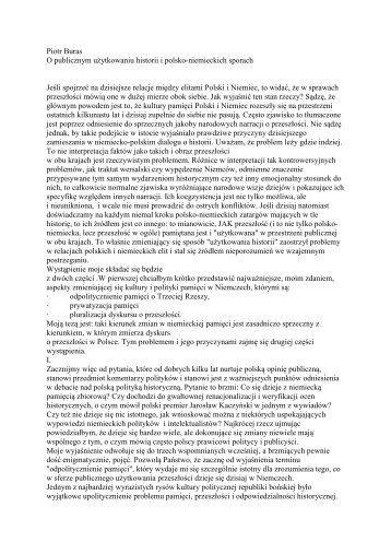 Piotr Buras O publicznym użytkowaniu historii i polsko-niemieckich ...