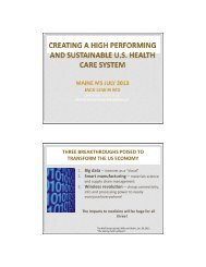 Creating a High Performing and Economically Sustainable Health ...