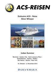Exklusive ACS - Reise Silver Whisper Indian Summer - ACS-Reisen