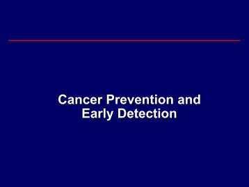 Cancer Prevention And Early Detection - NCI