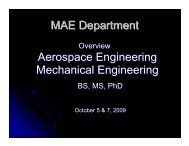 MAE Department Aerospace Engineering Mechanical ... - CEMR