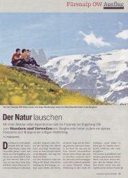 Der Natur lausche, Schweizer Familie 06.2008 - Fürenalp