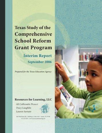 Texas Study of the Comprehensive School Reform Grant Program
