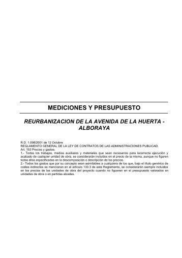 mediciones y presupuesto reurbanizacion de la avenida ... - Alboraya