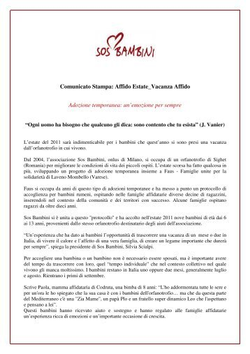 Comunicato Stampa: Affido Estate_Vacanza Affido ... - SOS Bambini