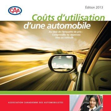 Coût d'utilisation d'une automobile (PDF) - CAA