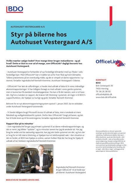 Styr på bilerne hos Autohuset Vestergaard A/S - BDO