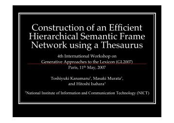 Construction of an Efficient Hierarchical Semantic Frame ... - issco