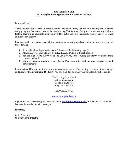 CDS Summer Camp 2013 Employment Application Information ...