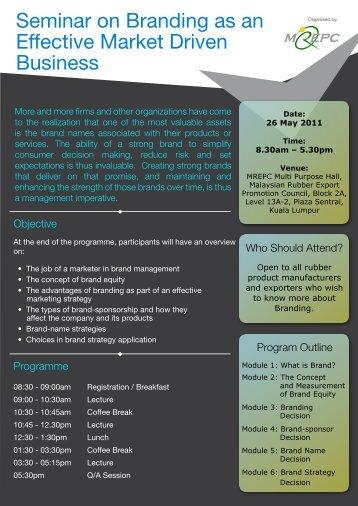 Seminar on Branding as an Effective Market Driven ... - Mrepc.com