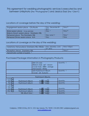 This agreement for wedding photographic services is ... - unikcontract
