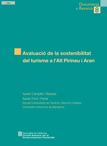 Avaluació de la sostenibilitat del turisme a l'Alt Pirineu i Aran