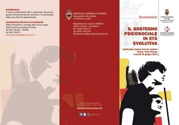 IL SOSTEGNO PSICOSOCIALE IN ETà EVOLUTIVA - Trentino Salute